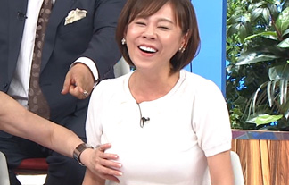 【爆乳】高橋真麻が生放送でおっぱい揉まれて喜んでるwww【画像13枚】