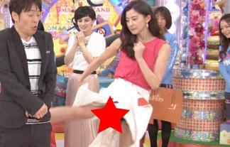 (パンツ丸見え)朝比奈彩、キックした瞬間にスカートの中が見えちゃうハプニング☆(えろ写真)