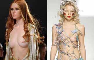 ファッションショーで乳首丸出しの美人モデル様たちが…これは最先端だわ…